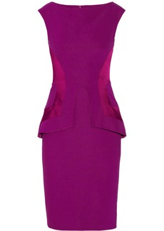 Lela Rose Satin-paneled linen-blend peplum dress