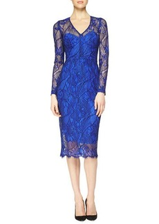 Lela Rose Scalloped Floral Lace Midi Dress  Scalloped Floral Lace Midi Dress