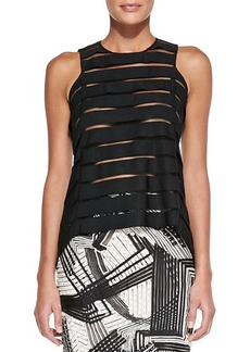 Lela Rose Sheer Striped Tank Blouse