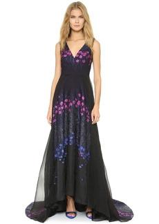 Lela Rose Shimmer Floral Accent Gown