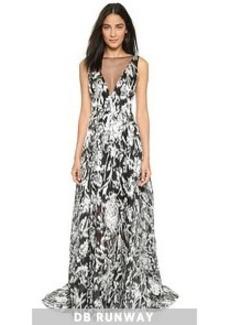 Lela Rose Shimmer Ikat Gown