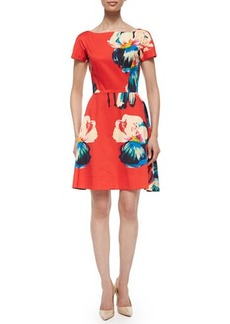 Lela Rose Short-Sleeve Floral-Print Dress