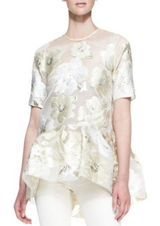 Lela Rose Short-Sleeve Gold Leaf Floral Blouse, Ivory/Metallic