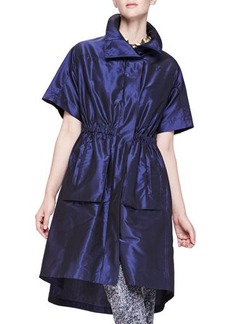 Lela Rose Short-Sleeve Iridescent Anorak  Short-Sleeve Iridescent Anorak