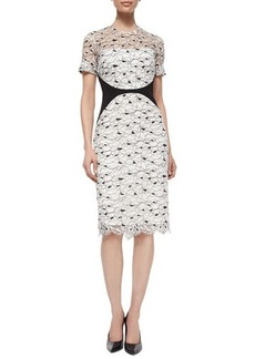 Lela Rose Short-Sleeve Lace Sheath Dress