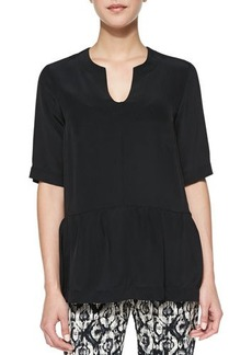 Lela Rose Short-Sleeve Silk Peplum Blouse, Black