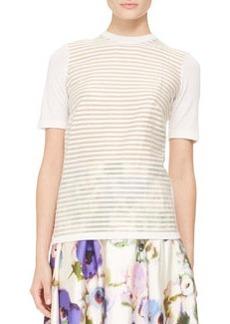 Lela Rose Short-Sleeve Stripe-Front Top