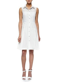 Lela Rose Side-Pleated Mesh Shirtdress