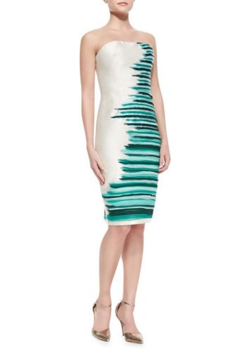 Lela Rose Silk-Embroidered Strapless Cocktail Dress, Jade/Multi