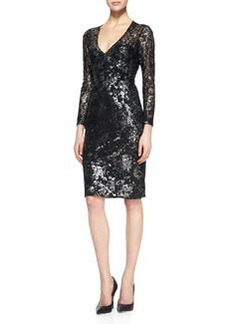 Lela Rose Silver-Dusted Lace Dress, Black/Metallic