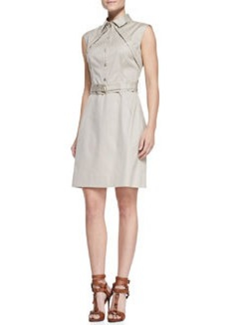 Lela Rose Sleeveless Belted Shirtdress