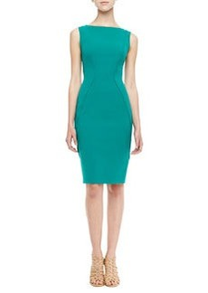 Lela Rose Sleeveless Boat-Neck Sheath Dress, Jade