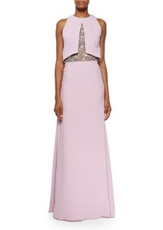 Lela Rose Sleeveless Embroidered-Bodice Gown