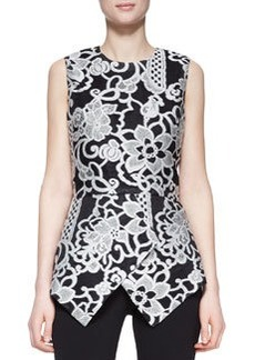Lela Rose Sleeveless Embroidered Peplum Top