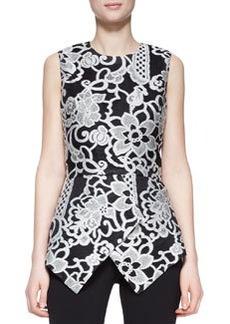 Lela Rose Sleeveless Embroidered Peplum Top