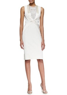 Lela Rose Sleeveless Embroidered Tuxedo Dress