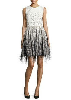 Lela Rose Sleeveless Feather-Embroidered Ombre Dress
