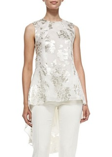 Lela Rose Sleeveless Floral Blouse W/ Train  Sleeveless Floral Blouse W/ Train