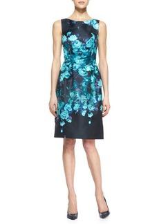 Lela Rose Sleeveless Floral Sheath Dress, Black/Mint