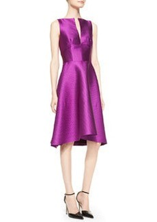Lela Rose Sleeveless Full-Skirt Jacquard Dress