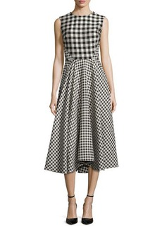Lela Rose Sleeveless Gingham Paneled Dress  Sleeveless Gingham Paneled Dress