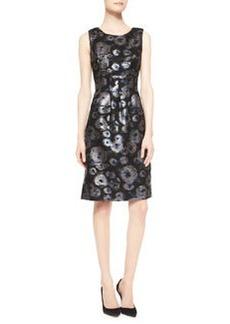 Lela Rose Sleeveless Metallic Tweed Dress