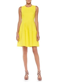 Lela Rose Sleeveless Seamed A-Line Dress