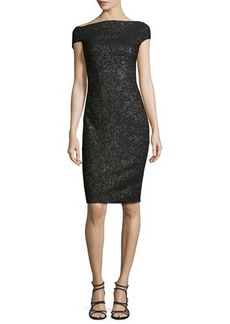 Lela Rose Sparkle Off-the-Shoulder Sheath Dress