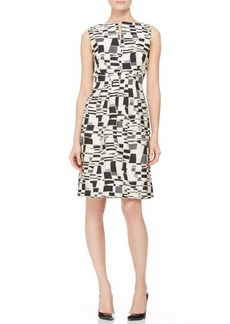 Lela Rose Split-Front Jacquard Sheath Dress