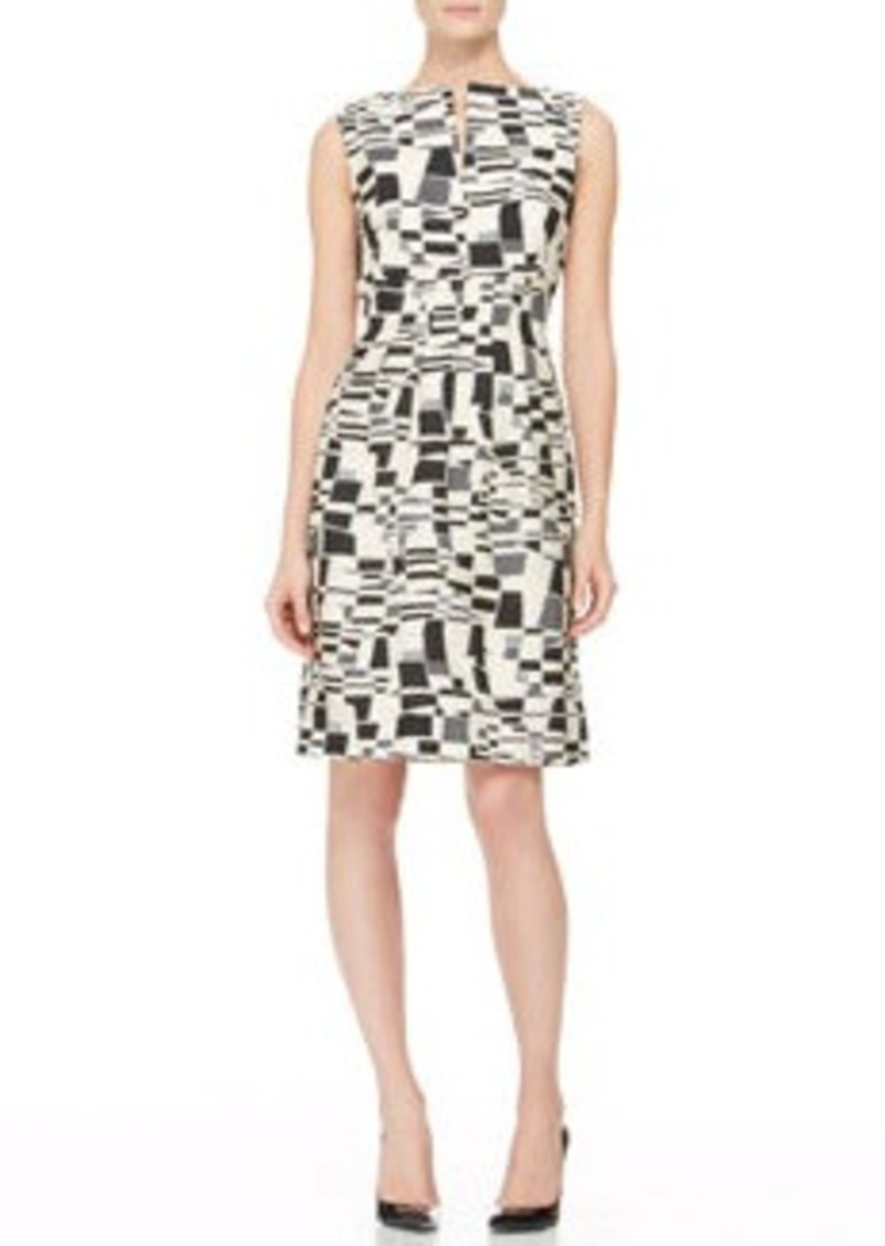 Lela Rose Split-Front Jacquard Sheath Dress