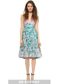 Lela Rose Square V Neck Dress