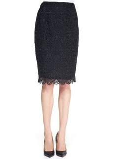 Lela Rose Straight Lace Skirt, Black
