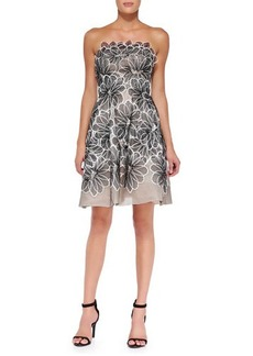 Lela Rose Strapless Floral Appliqué Dress  Strapless Floral Appliqué Dress