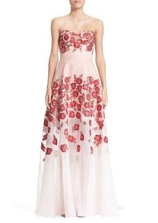 Lela Rose Strapless Floral FilCoupéGown