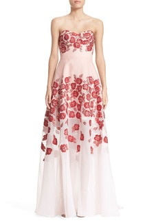 Lela Rose Strapless Floral Fil Coupé Gown
