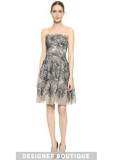Lela Rose Strapless Lace Dress