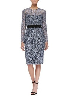 Lela Rose Strapless Lace Sheath Dress with Detachable Long-Sleeve Top