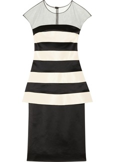 Lela Rose Striped faille and stretch-satin dress