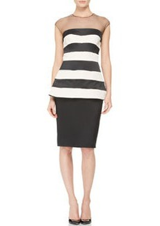 Lela Rose Striped Illusion-Neck Peplum Dress