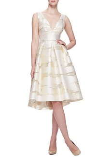Lela Rose Taffeta Burnout Full-Skirt Dress