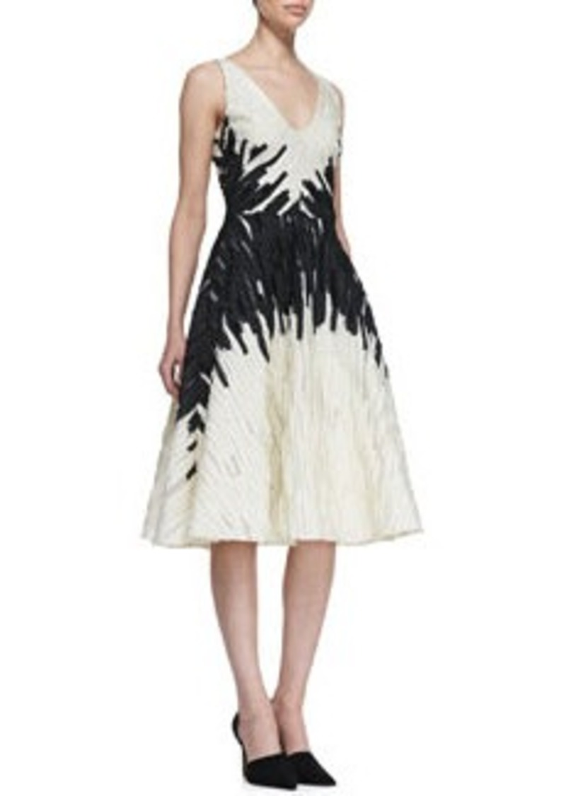 Lela Rose Textured Full-Skirt Jacquard Dress