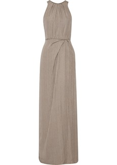 Lela Rose Textured-silk maxi dress