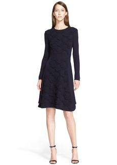 Lela Rose Textured Wool Blend Sweater Dress