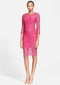 Lela Rose Three Quarter Sleeve Corded Lace Sheath Dress