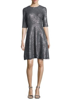 Lela Rose Tiered Metallic Elbow-Sleeve Dress