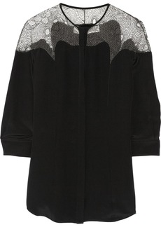 Lela Rose Tulle-paneled matte-satin blouse