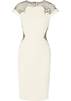 Lela Rose Tulle-paneled matte-satin dress