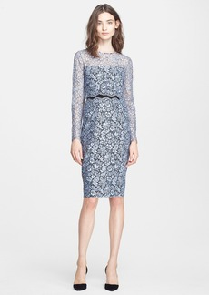 Lela Rose Two-Piece Lace Sheath Dress