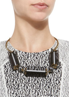 Lela Rose Two-Tone Cutout Station Necklace, Gray/Golden