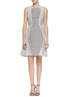 Lela Rose Two-Tone Paneled Fit-and-Flare Dress